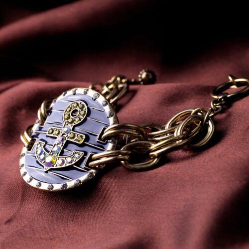 Bracelet Ancres Email Bleu Fonce Marine Retro Ancien Vintage Mariage CT2
