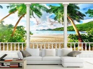 3D Taube Säule Strand 8 Tapete Wandgemälde Tapete Tapeten Bild Familie DE Summer