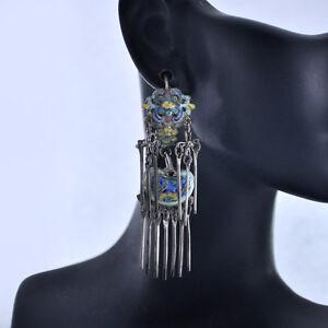 Antique-Chinese-Art-Nouveau-Vermeil-Enamel-Silver-Dangle-Earrings-2-1-4-034-Long