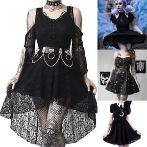 Women-039-s-Novelty-Style-Dark-In-Love-Ruffle-Sleeves-Off-Shoulder-Gothic-Lace-Dress