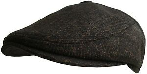 2c4cf9d271c Mens Button Top Flat Cap Tweed Country Caps Bakerboy Hat Newsboy ...