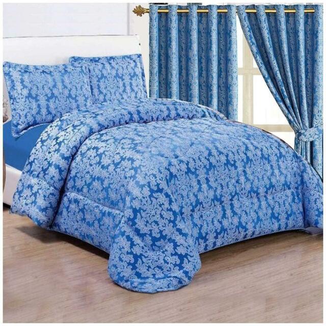 3 Piece Super King Flock Damask Comforter Bedspread Quilted Bed Set Throw TEAL