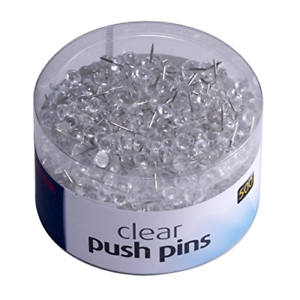 """Push Pins Clear 500 Count Precision Crafted Push Pins 3//8/"""" Hardened Steel Point"""
