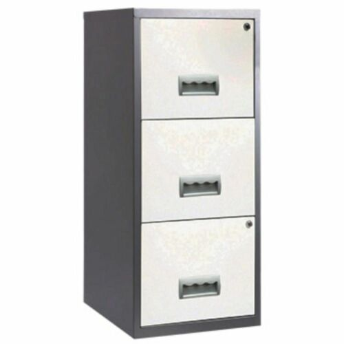 Pierre Henry A4 3 Drawer Maxi Filing Cabinet Silver And White   EBay