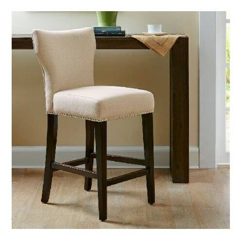 Terrific Madison Park 25 Counter Stool Chair Bistro Beige Fabric W Nailhead Trim A166 Ncnpc Chair Design For Home Ncnpcorg