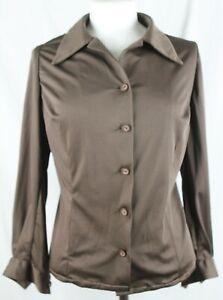 Vintage-1970-039-s-Long-Sleeved-BLOUSE-Brown-UK-16-EU-44-029-W