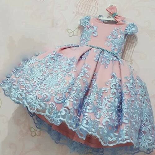 GIRLS BLUE N PINK LACE PARTY TUTU DRESS OUTFIT SET CLOTHING WINTER UK SELLER
