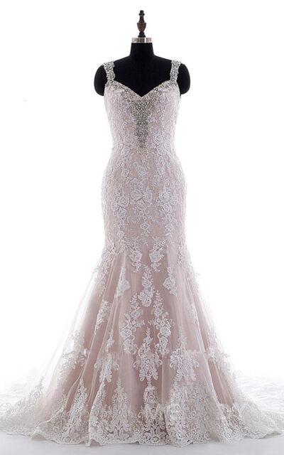 Blush Pink Mermaid Beading Liques Wedding Dress Straps Backless Bridal Gown