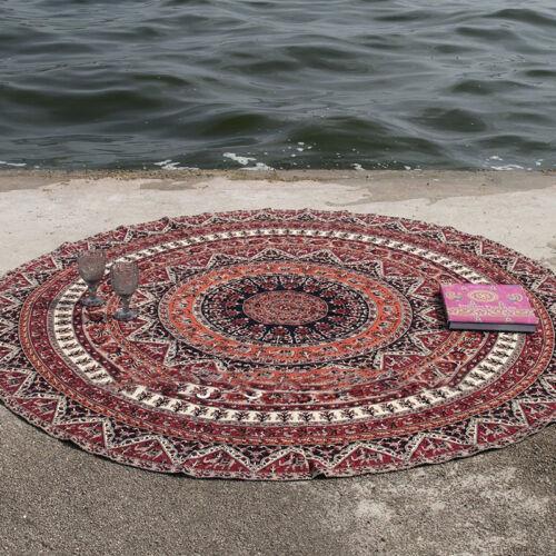 Large Bohemian Mandala Tapestry Round Beach Towel Hippy Throw Yoga Mat Bedspread