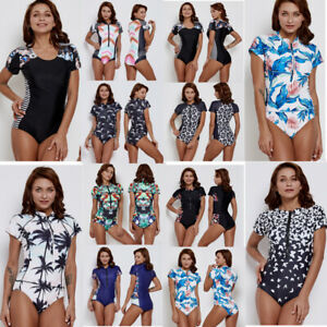 Image is loading Women-Short-Sleeve-Swimsuit-One-Piece-Swimwear-Floral- 68d90dbc6c2