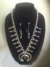 Vintage Navajo Squash Blossom Necklace & Earrings Sterling Beads Native American