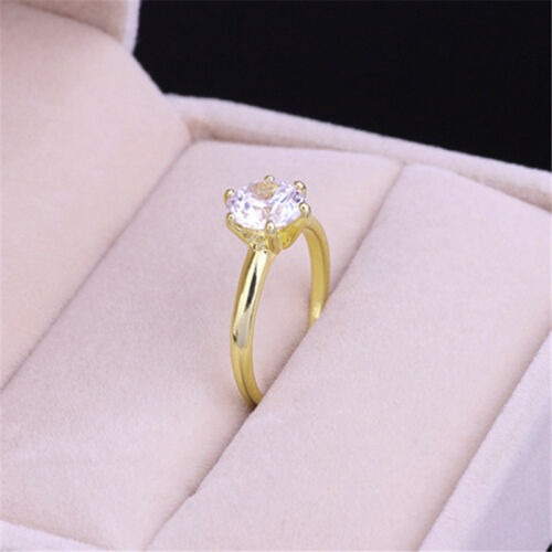 Luxury Gold Toned Shiny Crystal Zircon Ring For Women Lady Wedding Jewelry Z