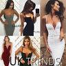 UK Womens Lace Up Corset Bodycon Boned V Deep Plunge Ladies Strappy Midi Dress