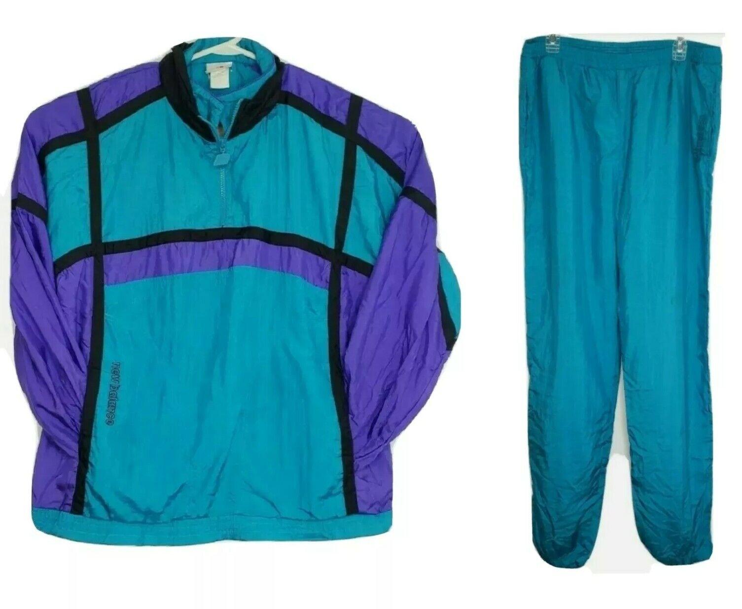 Vintage New Balance Womens Large Track Suit Jacket Pants Teal Purple Colorblock