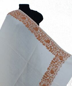 Cream-With-Brown-Floral-Crewel-Embroidered-Wool-Shawl-Kashmir-Art-80-034-40-034-Wrap