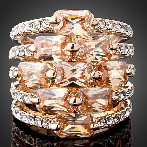 Rose Gold Plated Champagne CZ Crystal Ring Wedding Engagement Band Size 6-9