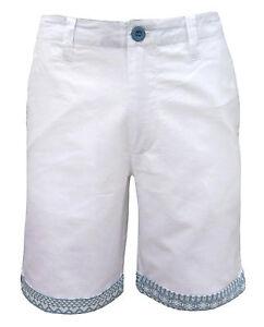 Soul-Star-Men-039-s-Oxford-Turn-Up-Shorts-White