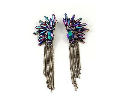 Fashion Retro Magic Color Bule Resin Leaf Tassel Chain Statement Earrings Stud