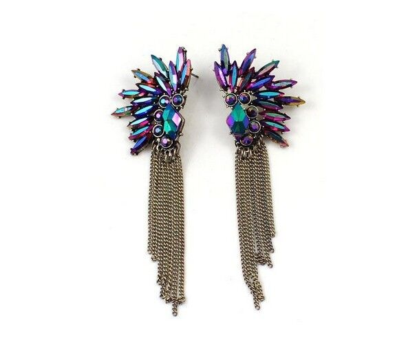 Fashion Retro Magic Color Bule Resin Leaf Tassel Chain Statement Earrings Stud