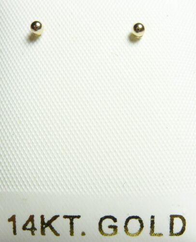 14Kt Pure Solid Gold 2MM Ball Screwback Earrings with Gift Box ... Guaranteed!!