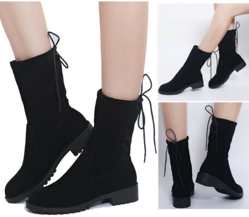 Womens Low Flat Heel Ankle Boots Winter Warm Lace Up Casual Shoes Booties