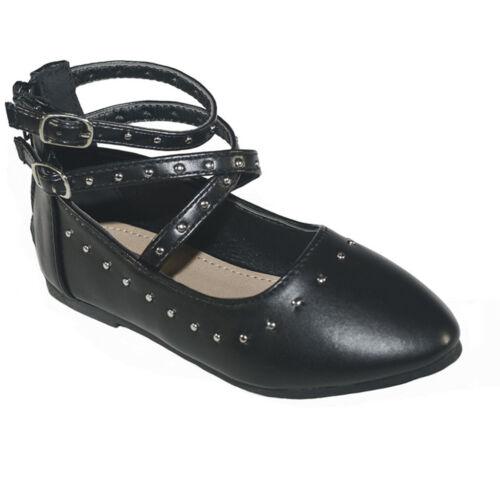 New Girls Flats Casual Ballet Ankle Strap Back Zipper Dress Shoes