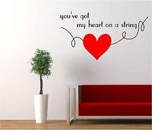 You-039-ve-Got-My-Heart-de-cuerda-Vinilo-Arte-COTIZACIoN-Etiqueta-Engomada-la-pared