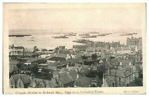 Antique-military-WW1-printed-postcard-Torpedo-Flotilla-in-Kirkwall-Bay