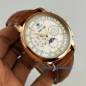 42mm-Ossna-Rose-Gold-Case-Hands-Moon-Phase-Steel-White-Dial-Automatic-Men-Watch