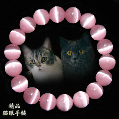 8//10mm Naturel Rose Oeil de Chat Pierre Gemstone Beads Jewelry Bracelet Bangle