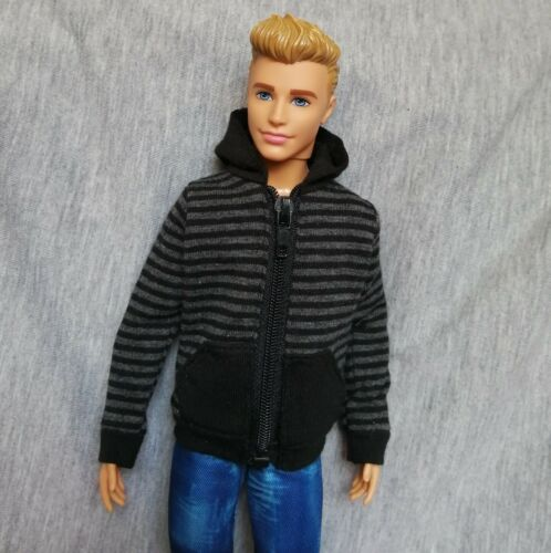 "Handmade doll clothes black /& grey hoodie for 12/"" barbie  ken dolls"