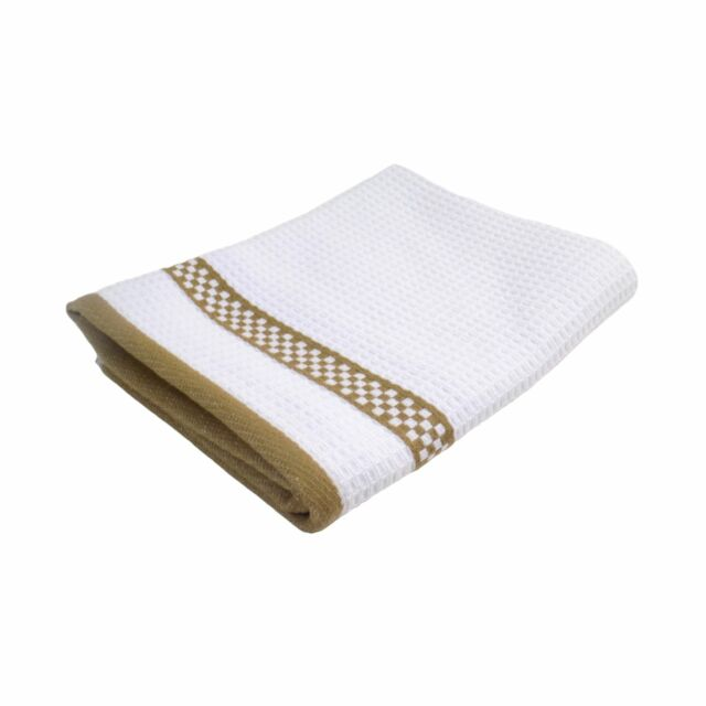 2X HIGH QUALITY WAFFLE CHEQUERED STRIPE BROWN WHITE COTTON KITCHEN TEA TOWEL