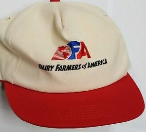 Vintage-DFA-Dairy-Farmers-of-America-Red-Beige-Hat-Cap-Trucker-Snapback-USA