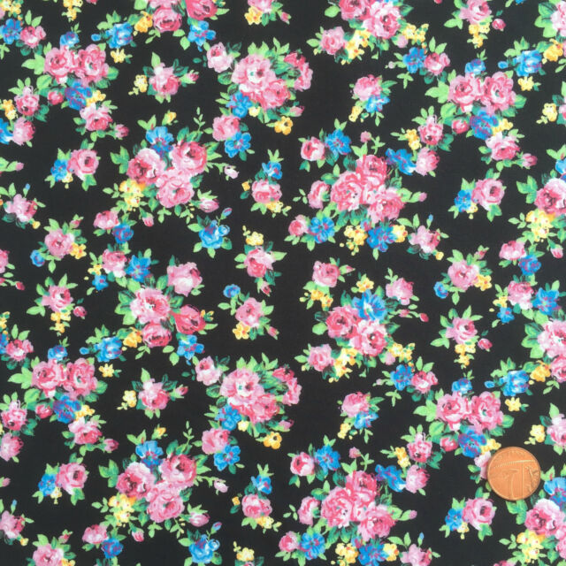 PER FQ / 1/2 metre BLACK/pink posy floral dressmaking/craft fabric 100 % cotton