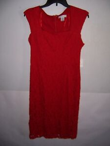 Liz-Claiborne-Women-039-s-Red-Lace-Dress-Size-8-NWT