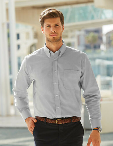 C 3XL F600 Fruit of the Loom Men´s Long Sleeve Oxford Shirt Farbe navy S
