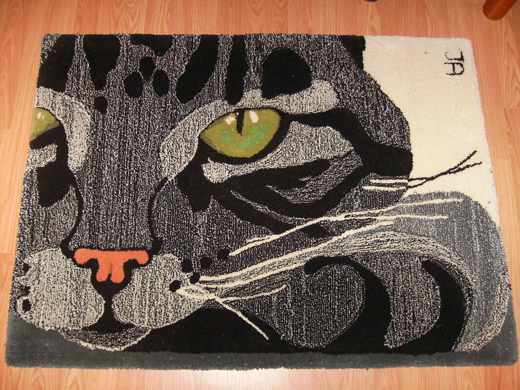 RUG- Kitten Cat Rug- Thick and and and Soft 100% Virgin Wool Hand Made Rug Ltd. Edition d1d620