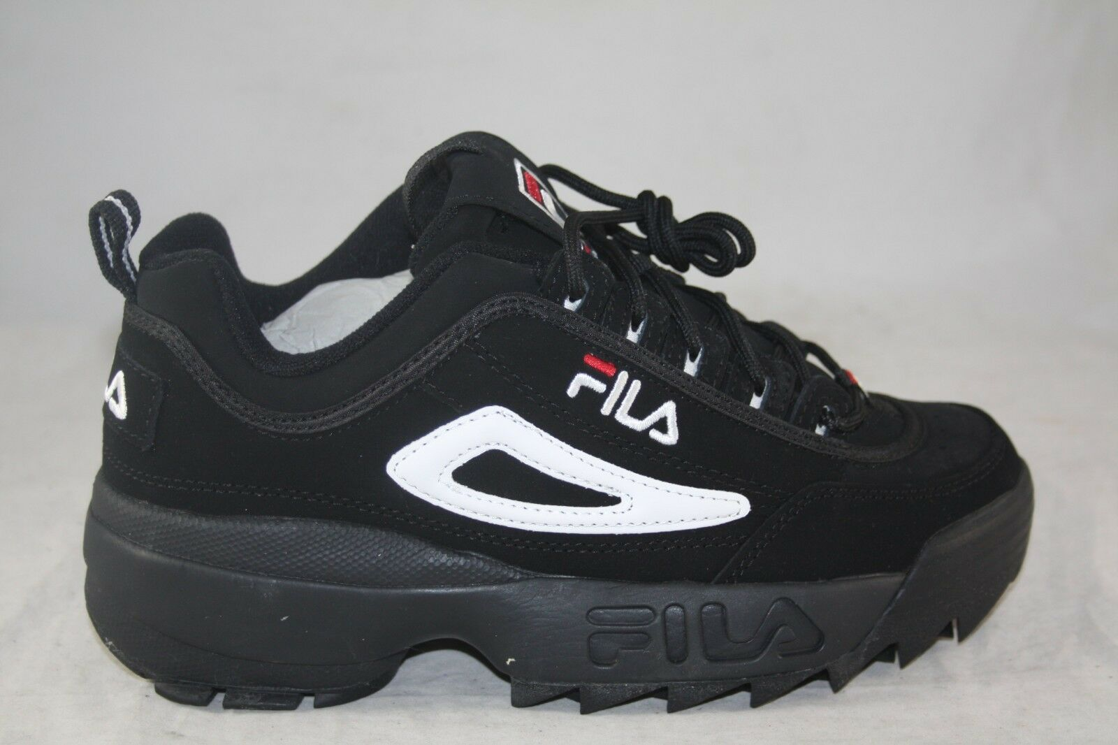 MEN'S FILA DISRUPTOR II CASUAL SHOE BLACK WHITE RED