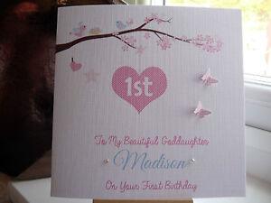 Handmade personalised 1st birthday card girls granddaughter daughter image is loading handmade personalised 1st birthday card girls granddaughter daughter bookmarktalkfo Image collections