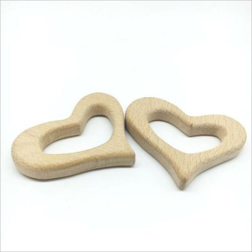 2pcs DIY  Natural wood Heart shape molar stick Safety Wooden Teether Baby Toy