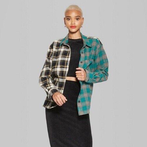 Women's Wild Fable Long Sleeve Plaid Flannel, Medium Emerald