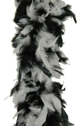 WHITE CHANDELLE FEATHER BOA BLACK 80 Gram; Halloween//Mardi-Gras//Craft
