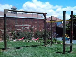 Monkey Bar With Double Swing Set Kit Wood Playground Backyard Kids