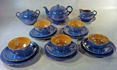 Meito China Blue and Peach Lusterware Teacup  Handpainted  Art Deco Trinket Holder  Vanity Decor  Curio Display  Tea Cup Collector