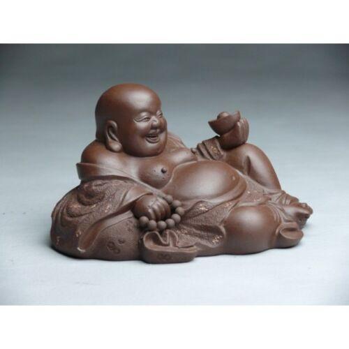 Buddha Ton-Figur liegend chinesische Keramik aus Yixing Feng Shui China dunkel