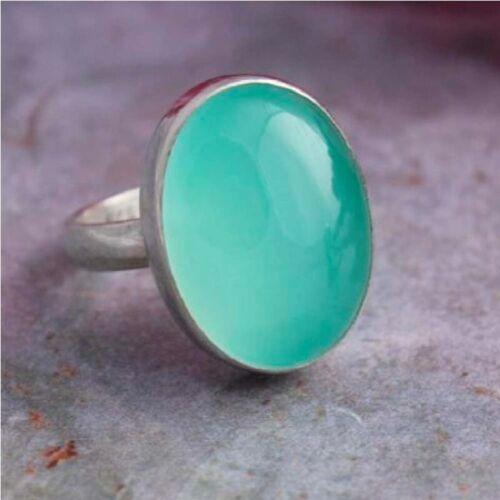 Aqua Chalcedony Ring 925 Sterling Silver Ring Handmade Ring Gift For Her KK-181
