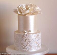 big Damask Lotus cake stencil for wedding cakes, plantilla para tarta de fondant
