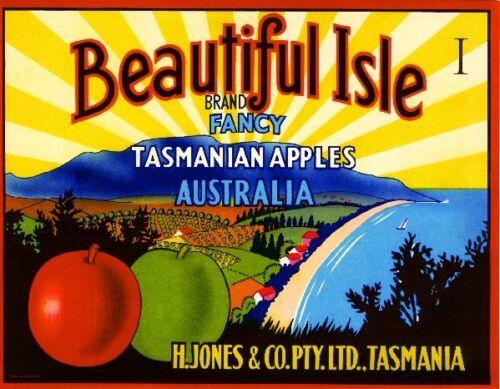 Tasmania Australia Beautiful Apple Fruit Crate Label Art Print
