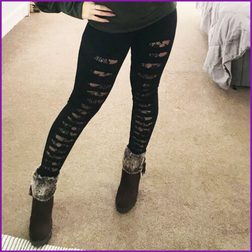 Womens Leggings Ripped Lace Insert Ladies Gym Clubbing New One Size Black UK ❤