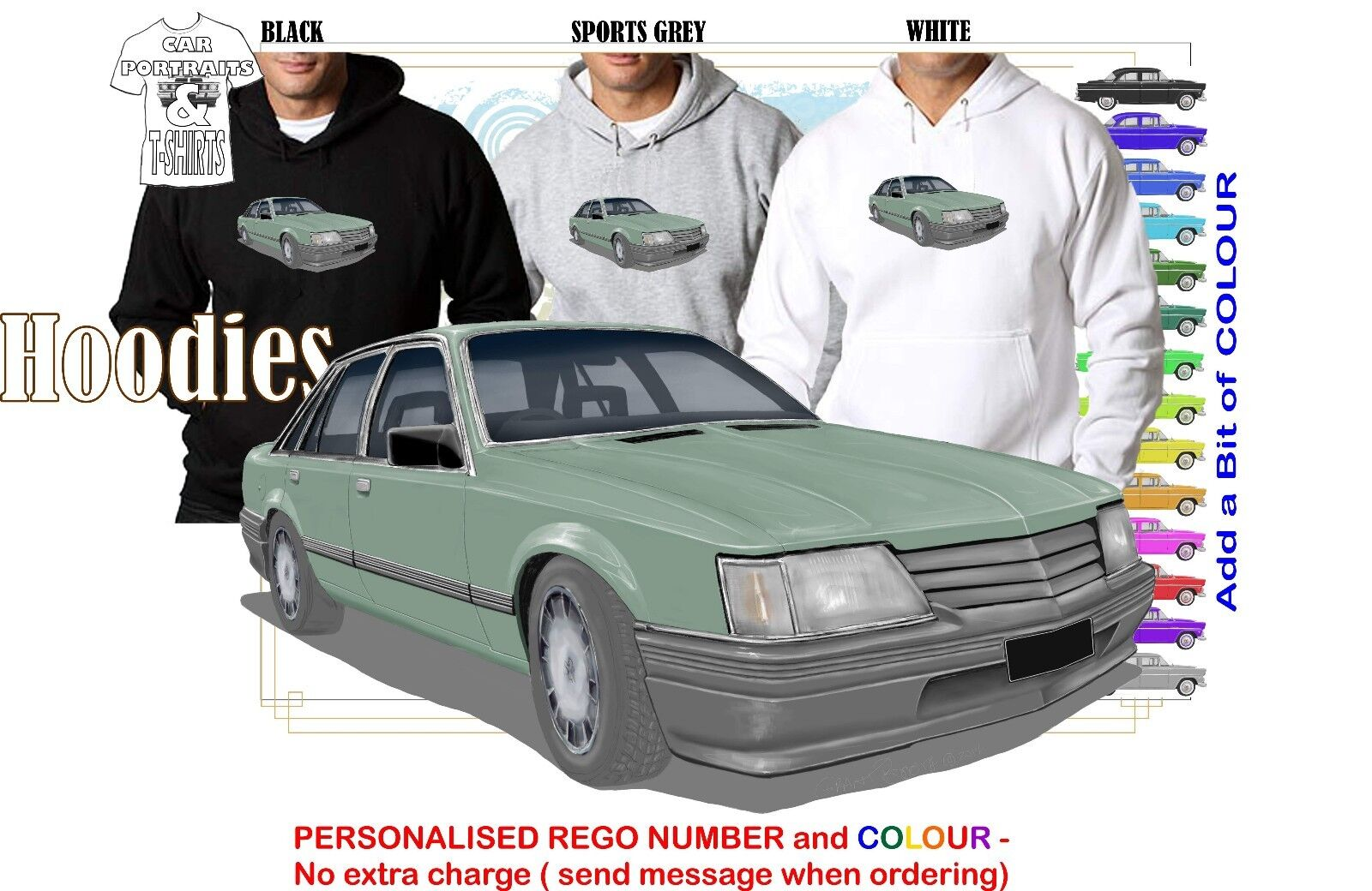 84-86 VK COMMODORE SEDAN HOODIE ILLUSTRATED CLASSIC RETRO MUSCLE SPORTS CAR